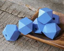 Alice Blue Wood Faceted Nugget 20mm