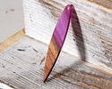 Walnut Wood & Orchid Pearlescent Resin Dagger Focal 7x43mm