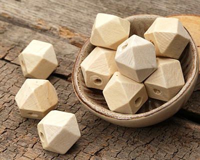 Natural Wood Faceted Nugget 14mm