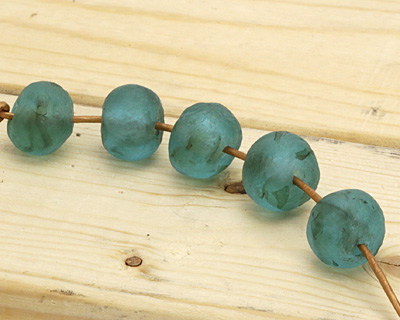 African Recycled Glass Turquoise Green Tumbled Rondelle 15-18x19-22mm
