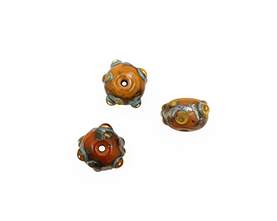 The BeadsNest Lampwork Glass Marmalade Rondelle 12-13x16-18mm