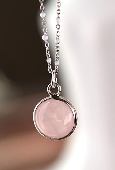 Rose Quartz Coin Focal w/ Silver Finish 13x17mm