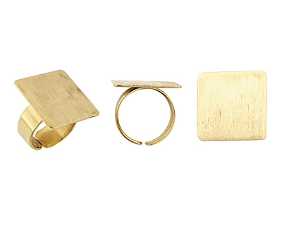 Brass Adjustable Square Ring 22mm