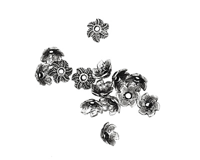 Pewter Leafy Bead Cap 5x10mm