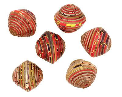 African Paper (red, orange, beige) Bicone 24-25x26-27mm