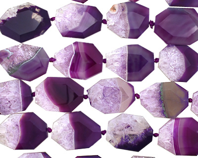 Purple Line Agate Faceted Flat Slab 29-34x22-25mm