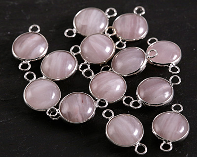 Lavender Quartz Coin Focal Link w/ Silver Finish 21x13mm
