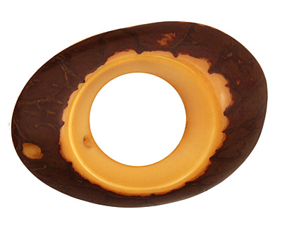 Tagua Nut Gold Open Slice 33-45x24-36mm