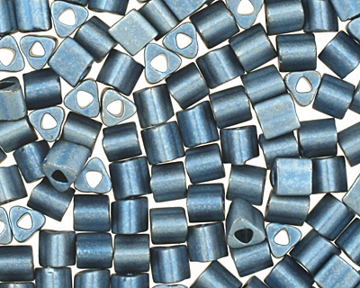 TOHO Higher Metallic Frosted Mediterranean Blue Triangle 11/0 Seed Bead