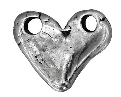 Rustic Charms Sterling Silver Solid Heart Link 18x15mm