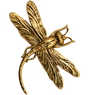 Stampt Antique Gold (plated) Soaring Dragonfly 46x35mm
