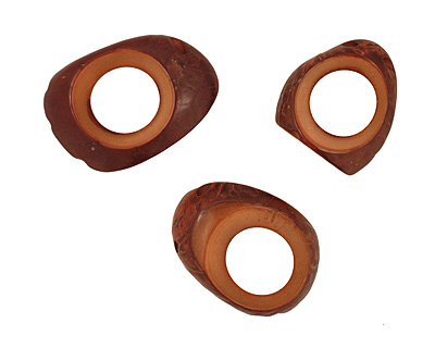 Tagua Nut Caramel Open Slice (side drilled) 33-45x24-36mm