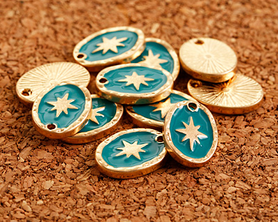 Zola Elements Turquoise Enamel Matte Gold Finish Starburst Oval Focal 11x15mm
