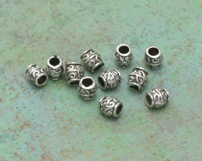 Zola Elements Antique Silver (plated) Large Hole Fiddlehead Barrel 8x7.5mm