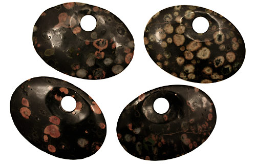 Black Leopardskin Jasper Large Oval Pendant 62x42mm
