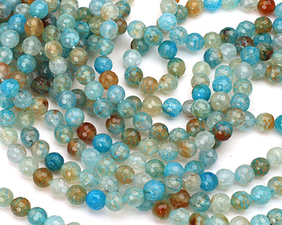Blue Haze Fire Agate Faceted Round 7-8mm