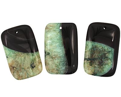 Black & Apple Green Rectangle Pendant 35x55mm