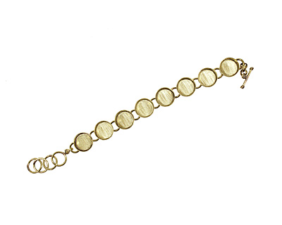 Brass Circle Bezel Link Bracelet 17mm