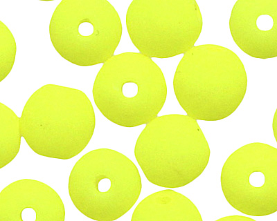 Czech Glass Bright Neon Yellow Round 4mm