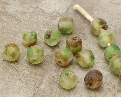 African Recycled Glass Earthy Tumbled Round 12-16mm