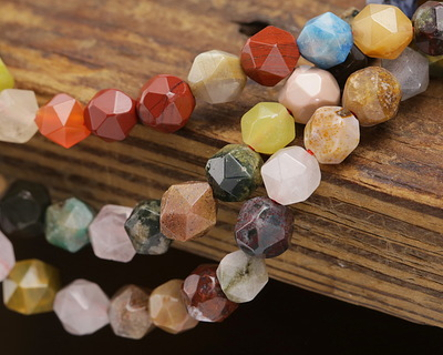 Multi Gemstone (Sodalite, Tiger Eye, Red Jasper, Aventurine) Star Cut Round 5-7mm