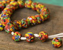 African Recycled Powder Glass & Seed Bead Sunset Mix Tumbled Round 10-14mm