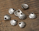 Greek Pewter Etched Clam Shell Charm 9x8mm