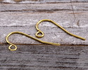 Gold (plated) Plain Earwire w/ Loop 11x22mm