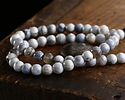 White & Blue Agate Round 6mm