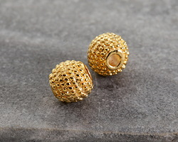 Gold (plated) Lychee Round Bead 6mm