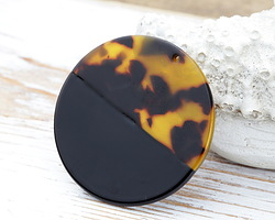 Zola Elements Tortoise Shell & Jet Acetate Coin Focal 40mm