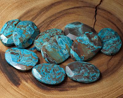 Turquoise Orbicular Jasper Faceted Flat Freeform Oval Pendant 52-55x37-39mm