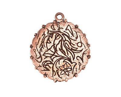 Nunn Design Antique Copper (plated) Large Ornate Circle Bezel Pendant 30x32mm