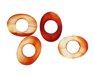 Carnelian (natural) Flat Oval Donut 28x38mm