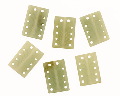 New Jade Floral Carved Rectangle 30x20mm