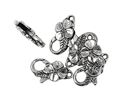 Antique Silver (plated) Floral Lobster Clasp 25x14mm