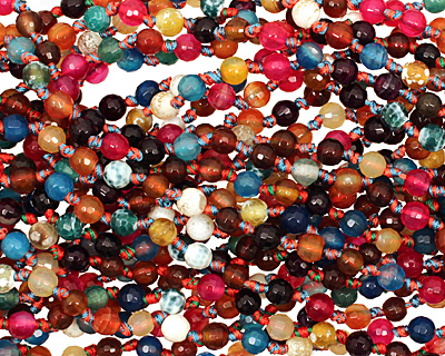 Multi-Color Fire Agate (bright) Faceted Round 6mm