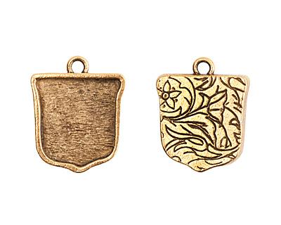 Nunn Design Antique Gold (plated) Crest Ensign Bezel Pendant 20x24mm