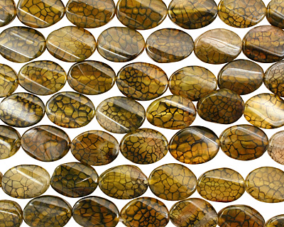 Olive Fire Agate Irregular Twisted Oval 24-25x17-19mm