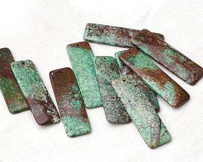 Green Calsilica Jasper Long Thin Rectangle Pendant 18x60mm