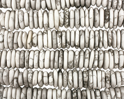White Howlite Side Drilled Flat Polished Pebble 4x22-23mm