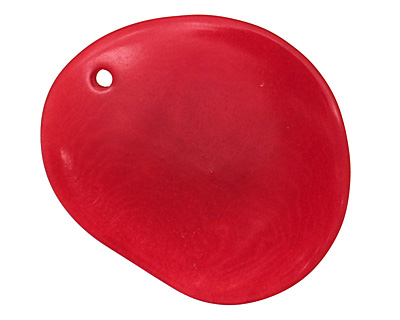 Tagua Nut Red Groovy Slice 25-35x30-42mm
