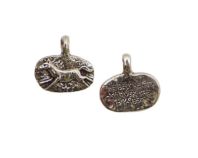 Green Girl Pewter Brave Horse 18x16mm