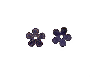 C-Koop Enameled Metal Dark Blue 5 Petal 15mm