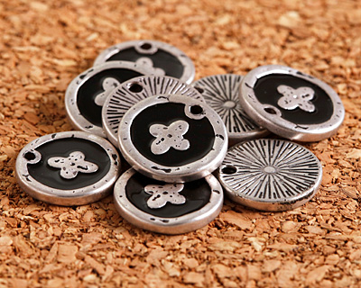 Zola Elements Jet Enamel Antique Silver (plated) Cross Coin Focal 13mm