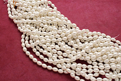 Pearly White Shell Pearl Rice 11x8mm