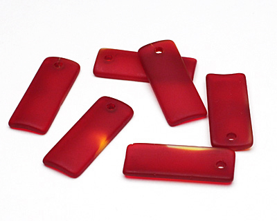 Cherry Red Recycled Glass Bottle Curve Rectangle 14x35mm