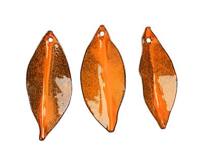 C-Koop Enameled Metal Pumpkin Orange Pointed Leaf 15-20x40-45mm
