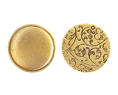 Nunn Design Antique Gold (plated) Crest Circle Tag 20.5mm