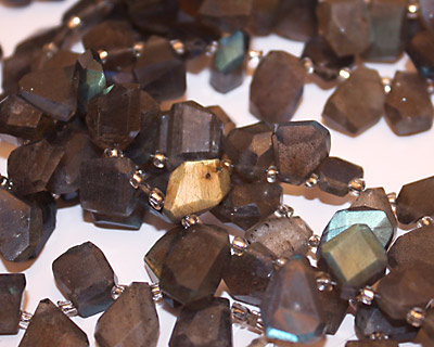 Labradorite Faceted Nugget Drops 7-11x10-15mm